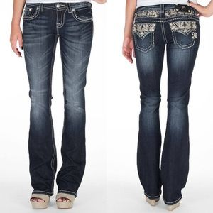 Miss Me Faux Leather Embellished Bootcut Jeans